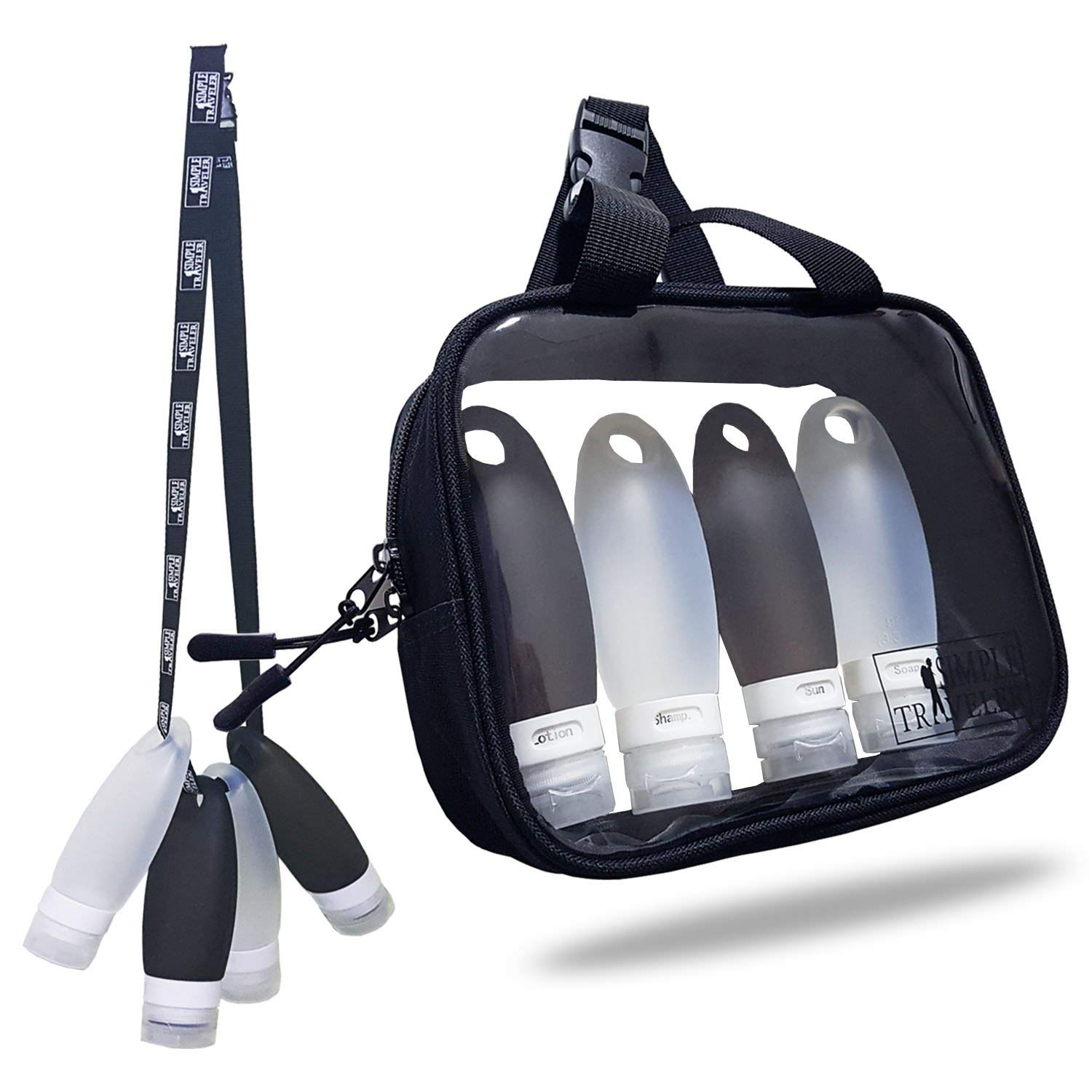 Silicone Travel Bottles Set with TSA approved Toiletry Bag by SimpleTravelerの画像