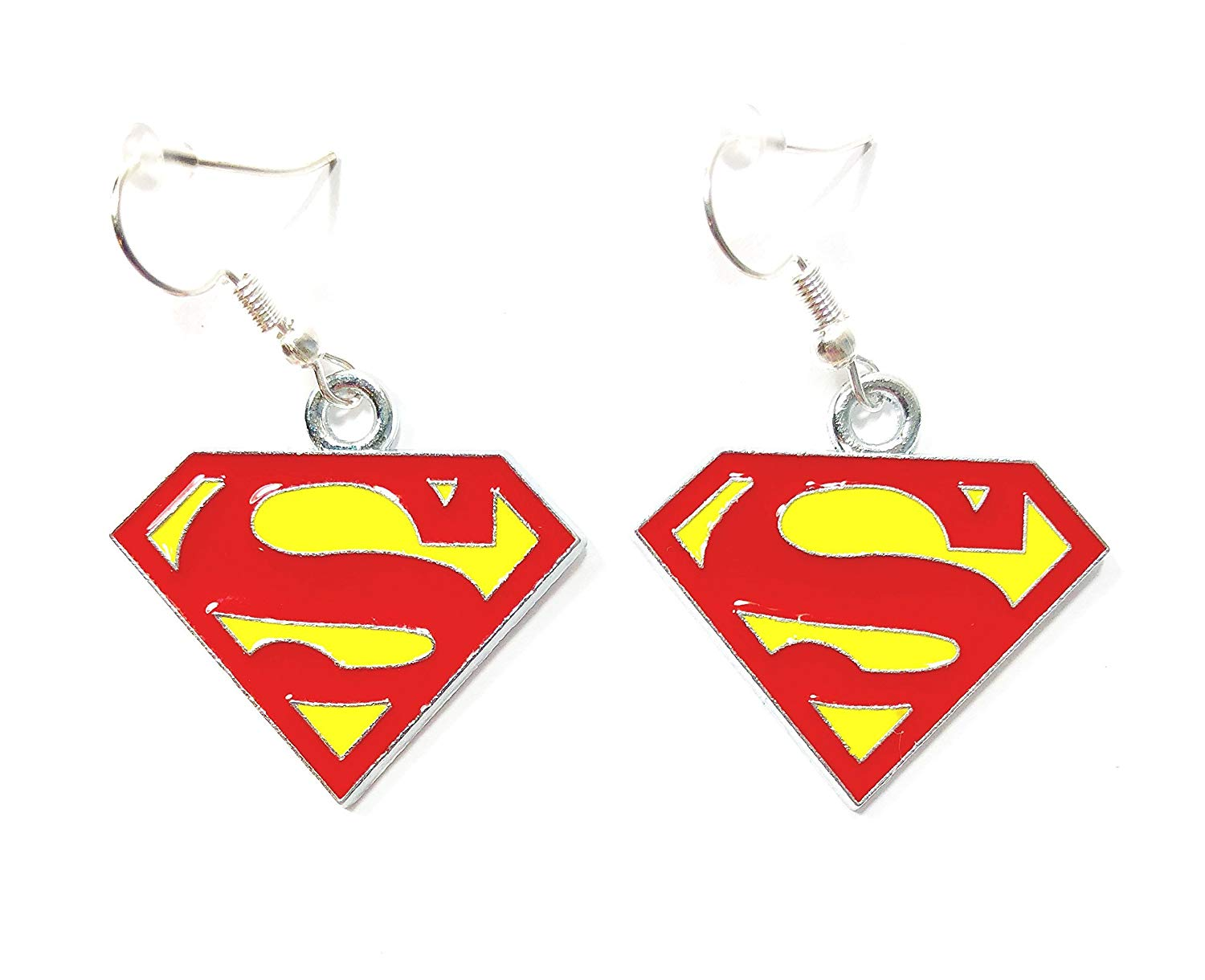 DC COMICS Superhero inspired SUPERMAN LOGO Symbol Charm Character Silver Metal Dangle Hook Earringsの画像